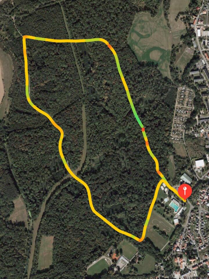Landkarte auf der die Laufstrecke eingezeichnet ist