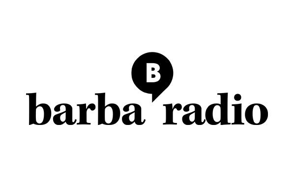 Barbaradio Logo mit einer kleinen schwarzen Sprechblase mit einem weißen B darin